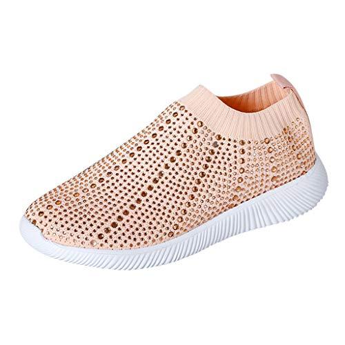 Laufschuhe für Damen/Dorical Frauen Turnschuhe Crystal Bling Sportschuhe Freizeit Atmungsaktiv Sneakers Casual Flache Sneakers Schuhe Sportschuhe Sneaker Ausverkauf(Rosa,36 EU)
