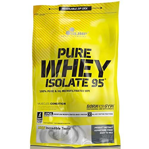 OLIMP Pure Whey Isolate 95 600g Vanille Geschmack reines Wheyprotein-Isolat WPI ohne laktoseverzweigte Aminosäuren bcaa Muskelmasse Muskelprotein Nährstoff Muskulatur Regeneration Carving - Wpi-whey Protein
