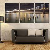 NIKUD - Set mit 3 LED-gestreckten Rahmen Kunstdrucke auf Leinwand Wand Dekoration Home Decor Wohnzimmer Büros Schlafzimmer dekorative LED-Brücke Drucken Malen, 40 * 60 cm * 3 pcs, #RP 984