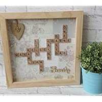 "Personalised 12x12"" Framed Scrabble Art - Word Art - Family Frame"