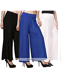 Klugger Soft And Comfortable Malai Lycra Palazzo For Women's/girl's Combo Pack-3 (Free Size) Blue,White,Black