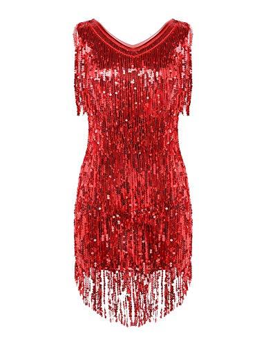 YiZYiF Damen Glitzer Pailletten Latein Kleid Quasten Tanzkleid Rumba Tango Ballett Dancewear Cocktail Abendkleid Ballroon Party Kleider Performance Outfits Rot Medium