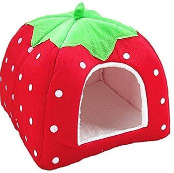 Cdet Chien Chat Lit Coussin Maison Kennel Chiot Panier Forme de fraise pour chats et petits chiens Fournitures 1PC size 26*26*28cm (Rouge)