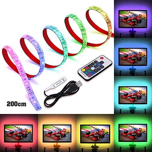 LED TV Hintergrundbeleuchtung, SOLMORE USB LED Strip 2M Streifen LED band rgb lichter lichterkette leiste USB-Verbindung für TV Küchenschrank Wandschrank Zimmer Deko (Alle Flash Kostüm)