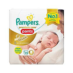 Pampers Premium Care Pants Style Diapers, New Born Size (24 Count)