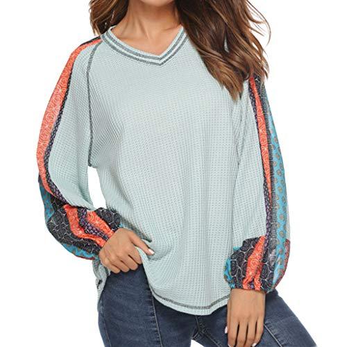 Langarmshirt Damen Mode Bluse Casual Patchwork T Shirt Hemd V-Ausschnitt Drucken Langarm Sweatshirt Pullover Lose Freizeit Tops Oberteil Ausverkauf von LEEDY