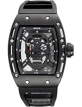 Skelettuhr Herren Gold Schädel Vintage Designer Coole Analog Quarzuhr Schwarz Blau Rot Silikon Armbanduhr