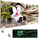 decomonkey Leinwand Bilder nachtleuchtend Blumen Orchidee Zen Steine Spa 135x45 cm Wandbilder Tag & Nacht Design Bilder mit 3D nachleuchtenden Farben Vlies Leinwand DKA0157alla1PXL