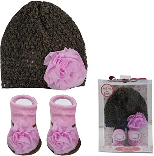 Baby Station Baby Girl Socks & Beanie Cap Gift Set