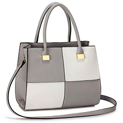 TrendStar Damen Der Frauen-Handtasche Umhängetaschen Konstrukteur Mode Promi-Stil Kunstleder (Patent Leder White Faux)