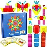 KanCai Blocchi di Legno Classico Educativo Giocattoli Montessori Set di Tangram per Bambini con 155 Pezzi di Forma Geometrica E 24 Schede di Progettazione