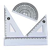 Cosanter Geometrie Set mit Lineal Geodreieck und Winkelmesser 3 Stück Zeichengarnitur für Schule und Büro