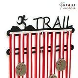 Medagliere da parete a 2 piani, per medaglie ottenute nel trail running, colore: nero