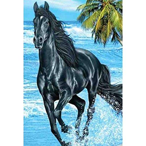 Grand Drap de plage Cheval noir - 140 x 180, 100% coton 140 x 180 cm