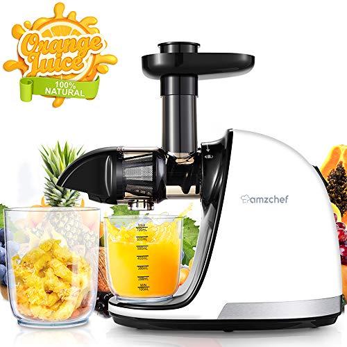 AMZCHEF Slow Juicer BPA-frei Entsafter Gemüse und Obst Profi Entsafter mit Ruhiger Motor & Umkehrfunktion & Saftkanne & Reinigungsbürste(150 Watt/Elfenbeinweiß)