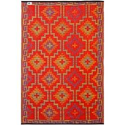 Fab Hab - Lhasa - Alfombra para Exterior e Interior - Naranja y Violeta - (120 cm x 180 cm)