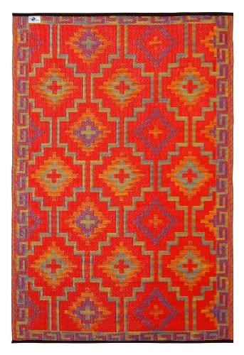 Fab Hab - Lhasa - Alfombra para Exterior e Interior - Naranja y Violeta - (90 cm x 150 cm)