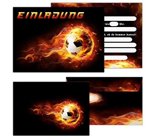 """Sophies Kartenwelt 11 \""""Fußball Einladungskarten Kindergeburtstag / Geburtstagseinladungen Jungen Mädchen Kinder / Einladungen Fussballparty Geburtstag (Umschlägen)"""