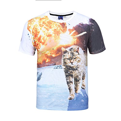 Pizoff Unisex Digital Print Schmale Passform T Shirts mit Katzen Cat 3D Muster, Y1717-33, Gr. L(EU-M) (Clothing Womens Ed Hardy)