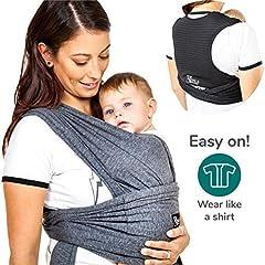 Idea Regalo - Koala Babycare® Fascia porta bambino facile da indossare (easy on), regolabile unisex | Marsupio neonati multiuso adatto fino a 15kg | Fascia porta bebe - Antracite - Design Registrato KBC®