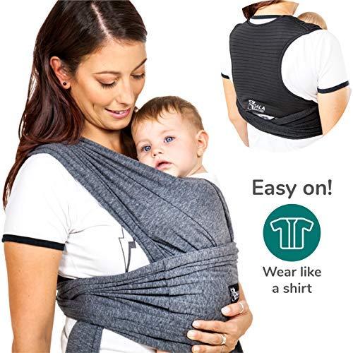 Koala Babycare® Baby Tragetuch|Leichtes Anziehen (Easy-On)|Unisex |Babytrage Neugeborene |Multi-Use |Bis 15kg|Babytragetuch Anthrazitgrau|Koala Cuddle Band - eingetragenes Design KBC®