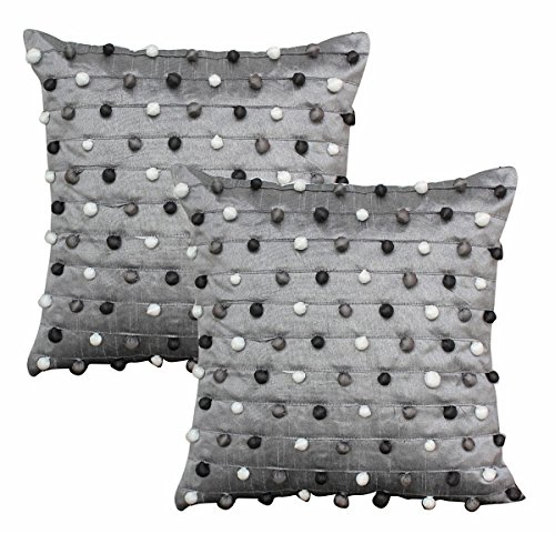 Dekor World PomPom Cushion Cover(Pack Of 2)