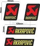 Sticker-Designs® ca.7.5cm AKRAPOVIC 4x groß, 4x klein Bike138 viele Jahre haltbar,Hochleistungs-Druck UV & Waschanlagenfest,schutzbeschichtete,kratzfeste,Profi-Qualität,bunt ohne Hintergrund-FREIGESTELLT-,Motiv ist auf Kontur(Umriss)ausgeschnitten(Bild2)!Für alle Autos und Lacke geeignet.SCHNELL,EINFACH ZU VERKLEBEN auf Scheiben,PKW,Motorrad,Tuning,Camping,alle glatten Flächen,Wandtattoo,Roller,Heckscheibe,Stoßstange.MADE IN GERMANY