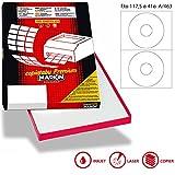 Confezione 100 Fogli A4 Carta Adesiva Bianca Per Cd/Dvd/Bluray Per Stampanti Inkjet E Laser