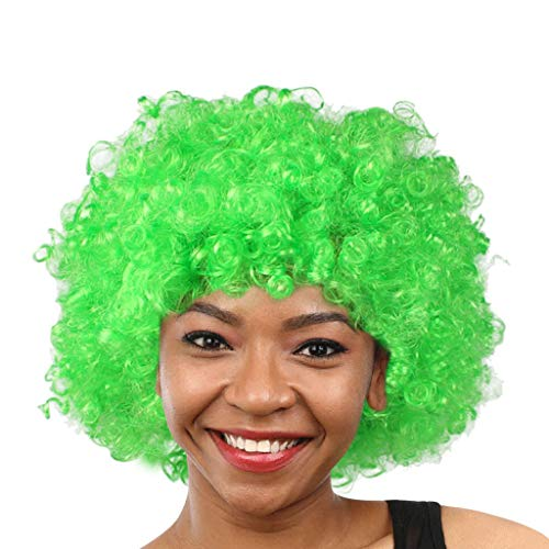 BDToy Party Disco Lustige Afro Clown Haare Fußball Fan-Adult Afro Maskerade Haare Perücke