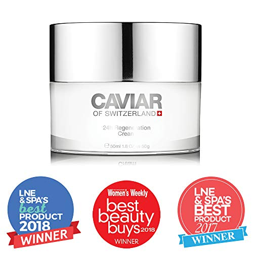 24h Regeneration Cream (50 ml) by Caviar of Switzerland, Anti Aging Face Cream Women, Improves Elasticity and Collagen Production, Detoxifies and Regenerates Skin, Reduces Wrinkles and Fine lines -