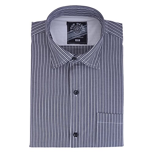 Your Desire Shirts Men Cotton White and Grey Formal Shirt (Size 42)