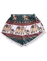Pantalones cortos para mujer, RETUROM Pantalones cortos ocasionales de la playa de la alta cintura del verano de las mujeres de la manera (Multicolor, S)