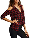 365-Shopping Frauen Casual Langarm Kariert Schulterfrei Button-Down-T-Shirt Plaid Tops Hemd-Bluse