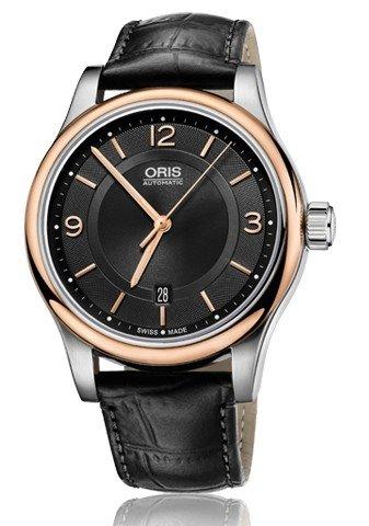 Oris Classic Datum Schwarz Zifferblatt Schwarz Leder Mens Watch 0173375944334–0752011