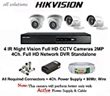 #9: Hikvision Full HD (2MP) 4 CCTV Cameras & 4Ch.Full HD DVR Kit (All Accessories)