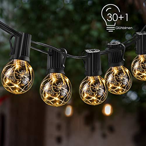 Lichterkette außen, ECOWHO 10m G40 LED Lichterkette Glühbirnen, Wasserdichte Outdoor Lichterketten mit Stecker für Zimmer Garten Balkon Hochzeit Weihnachten (Warmweiß, 30 Birnen + 1 Ersatzglühlampe) -