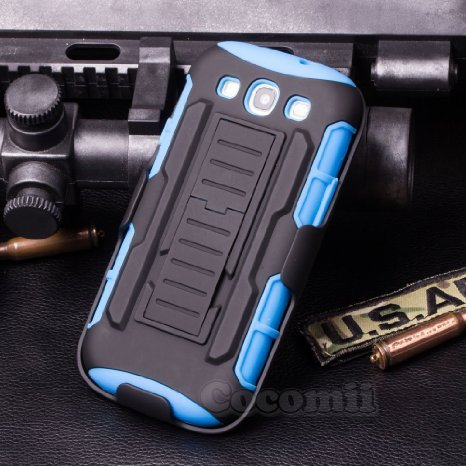 Galaxy S3 Coque, Cocomii Robot Armor NEW [Heavy Duty] Premium Belt Clip Holster Kickstand Shockproof Hard Bumper Shell [Military Defender] Full Body Dual Layer Rugged Cover Case Étui Housse Samsung I9300 (Blue)