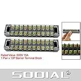 SODIAL(R) 10 Poli barriera connettore morsettiere Block 15A 600V
