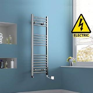 iBathUK 1200 x 400 mm Electric Straight Towel Rail Radiator Chrome Heated Ladder RE105