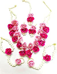 Floret Jewellery Beautiful Pearl Designer Pink Flower Jewellery Set With 6 Items For Women & Girls (Mehandi/Haldi/Wedding/Bridal)