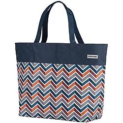anndora XXL Shopper dunkelblau orange - Strandtasche 40 Liter Schultertasche Einkaufstasche