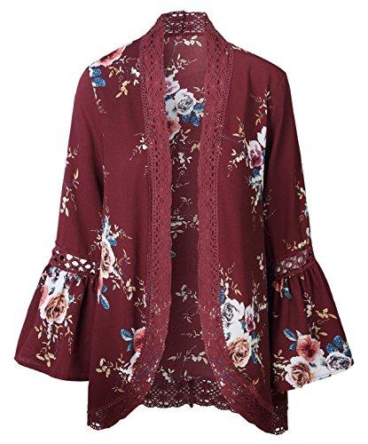 Longwu Donna Boho 3/4 Manicotto Del Merletto Avvolgono i Cardigan Kimono Casual Coverup Cappotto Outwear Rosso