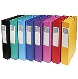 Exacompta 50600E Archivbox (Manila Karton, Rückenetikett, Rücken 60 mm, 600 g, DIN A4) 1 Stück farbig sortiert