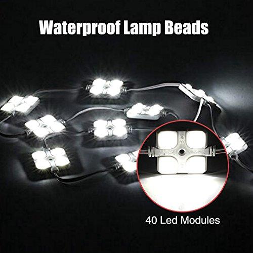 Audew LED Auto Innenbeleuchtung Auto Innenraumbeleutung Lampe Interior Licht 10×4 Leseleuchte LED Panel Kits Weiß 12V