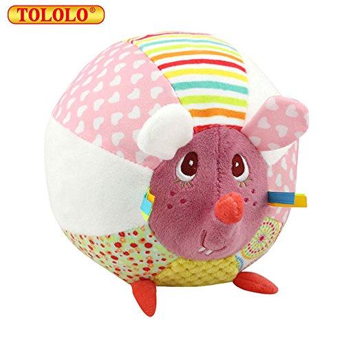 Baby Kleinkind Rasseln Stoffspielzeug Plüschtiere Tier Kugel mit 8 Töne Geschenk,Ratte