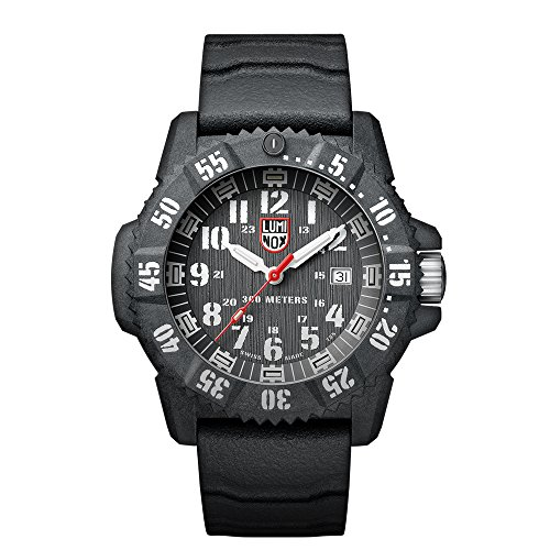 Luminox Carbon SEAL  Men's Quartz watch with Silver dial featuring LLT Luminox light Technology 46 millimeters Carbon Compound case and Grey Rubber Strap  XS.3801