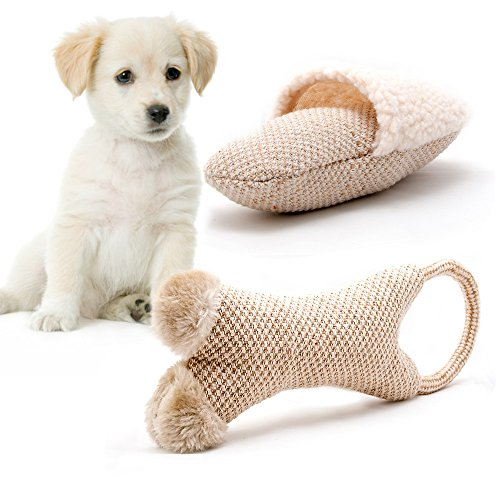 2-teiliges Hundespielzeug Set Natural Fun, aus natürlichen Materialien mit Quitscher, Plüschspielzeug (Naturals Natürlich Baumwolle)