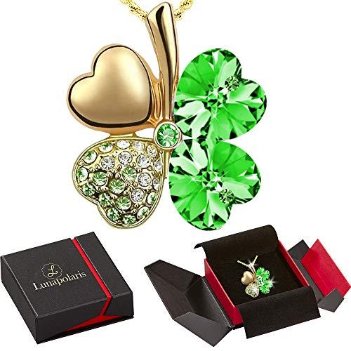 Lunapolaris® - Halskette - Kleeblatt Glücksanhänger mit funkelnden Diamanten eingearbeitet - Gold plattiniert ┃ Glücksgrün
