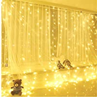 Lomsarsh 300 LED Window Curtain USB String Light Wedding Party Home Garden Bedroom Outdoor Indoor Wall Decorations with Remote Control, Warm White,3X0.5M