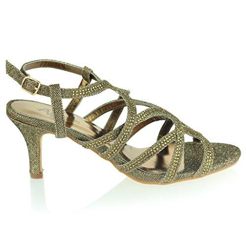 Femmes Dames Diamante Décoré Cage Sandales à Lanières Talon moyen Des Sandales Soir Fête Mariage Bal de Promo De Mariée Chaussures Taille Marron